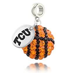 Texas Christian Horned Frogs Basketball Drop Charm Fits All Pandora Style Bracelets