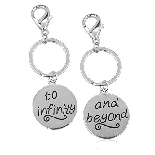 Lux Accessories - Set di 2 portachiavi, per migliori amici, con scritta in inglese To Infinity & Beyond