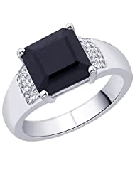 Peora Sterling Silver Rhodium Plated Square Black Onyx And Cubic Zirconia Ring For Men (PR2070)
