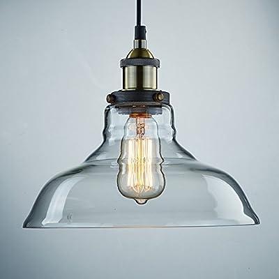 Ecopower Industrial Edison Vintage Style 1-Light Pendant Glass Hanging Light