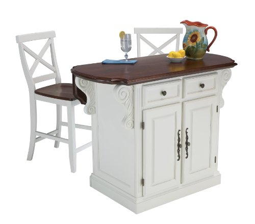 Cheap Home Styles 5007-948 Traditions Kitchen Island with 2 Stool, White and Cherry Finish (5007-948)