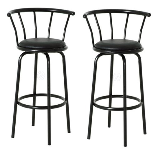 SET OF 2 Revolving Black Padded Seat Kitchen Bar Stools with Black Frame