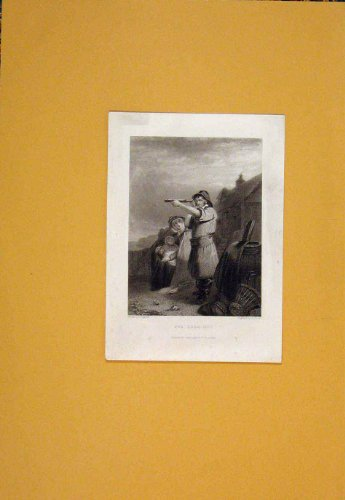 Look-Ou Look Out Telescope Gard Security Print Antique