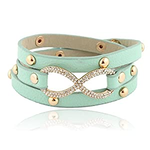 Mint with Goldtone Leather Infinity Wrap Around Adjustable Snap Bracelet