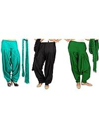 Rama Full Patiala Salwars With Dupattas Combo Of 3 (Black, Lime Green, Light Green_Free Size)