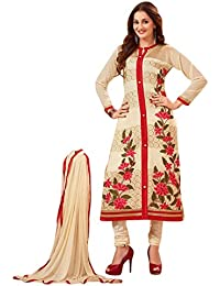 Surat Tex Cream Colored Cotton Embroidered Party Wear Semi-Stitched Salwar Suit-J605DL69