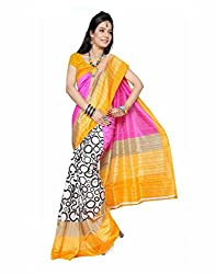 GoGalaxy Fashion Woman's unstiched party wear collection Yellow Bhagalpuri Silk Printed Free Size Full Saree at Low Price