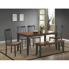 Boraam 21035 6-Piece Bloomington Dining Room Set, Black/Cherry