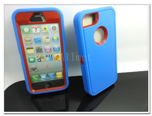 =>  Multi Color Iphone 5 5S Body Armor Silicone Hybrid Cove Hard Case, Three Layer Silicone PC Case Cover for iPhone 5 5S (Blue+Red)