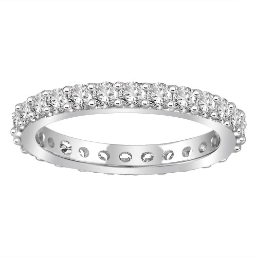 18k White Gold Bead-Set Diamond Eternity Ring (1.00 cttw, G-H Color,SI1-SI2 Clarity), Size 5.5