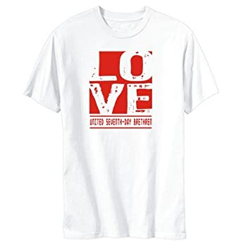 LOVE United Seventh-Day Brethren White T-Shirt Mens: Amazon.co.uk ...
