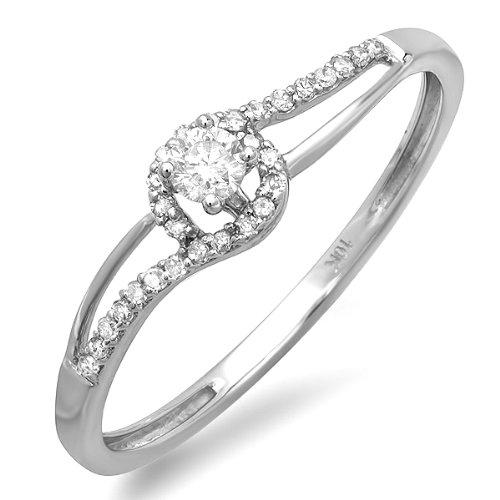 0.25 Carat (ctw) 10k White Gold Round Cut Diamond Ladies Promise Swirl Wave Engagement Bridal Ring 1/4 CT
