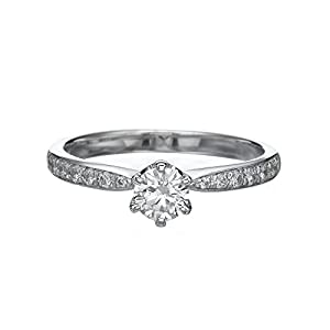 IGI Certified 14k white-gold Round Cut Diamond Engagement Ring (0.57 cttw, H Color, SI2 Clarity)