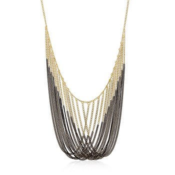 Two-Tone Multi-Strand Statement Necklace