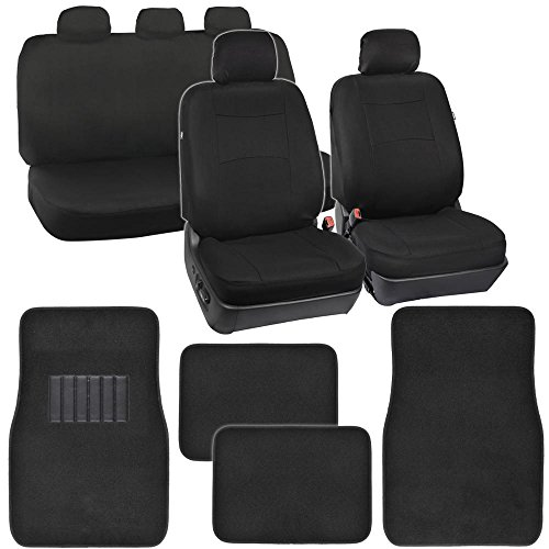PolyCloth Car Seat Covers Black Classic Fit & Black Carpet Floor Mats for Auto (Car Seat Covers For Chevy Tahoe compare prices)