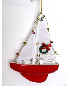 Amazoncom sailboat with lights and wreath christmas for Boat ornaments for bathroom