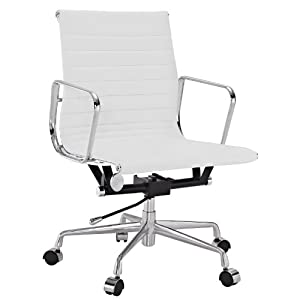 Amazon Ribbed Mid Back fice Chair in White Genuine