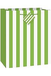 Unique Medium Lime Green Stripe Gift Bag