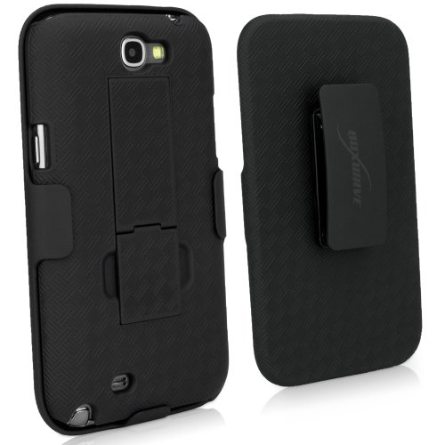 BoxWave Dual+ Holster Samsung Galaxy Note 2 Case - 3-in-1 Case with Holster Combo Includes Protective Case and Belt Clip Holster with Integrated Viewing Stand - New and Improved Design! (Jet Black)