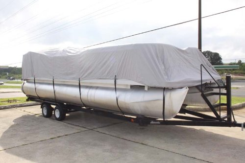 BRAND NEW *GREY/GRAY* 16 FT VORTEX ULTRA PONTOON BOAT COVER, BEST AVAILABLE, TRI-PURPOSE, FOR STORAGE, MOORING, OR TRAILERING, HAS ELASTIC AND STRAPS FITS 14 FT TO 16 FT LONG DECK AREA