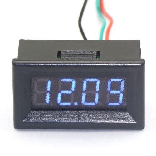 """Drok 4 Digit Digital Voltmeter 0.56"""" Dc 0-200V 12 Volt Blue Led Auto Voltage ..."""