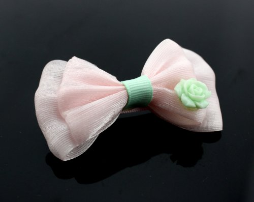 Big Dragonfly Cute Pink Lace Bowtie Hair Clip Snap Barrette Hair Accessories (Green Flower) front-663315