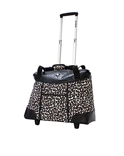 Olympia Deluxe Fashion Rolling Tote, Cheetah