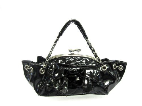 Quilted Designer Inspired Leather Like Shoulder Bag With Bow Tie - Black