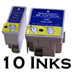 10X T066 T067 BLACK AND COLOUR COMPATIBLE PRINTER CARTRIDGES FOR EPSON STYLUS C48, C48UX