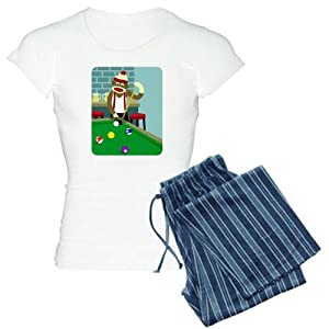 CafePress Sock Monkey Pool Player Women's Light Pajamas Women's Light Pajamas