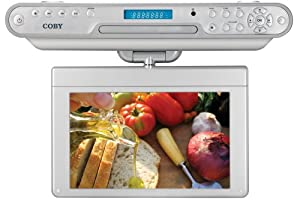 Coby KTFDVD1093 10.2-Inch Under-The-Cabinet LCD TV with Built-in DVD/CD Player and AM/FM Radio(Silver)