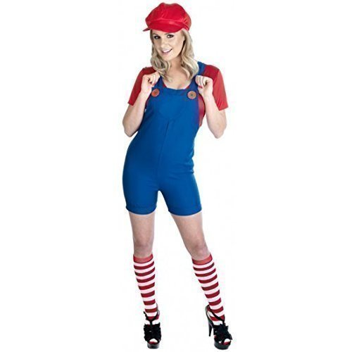 Ladies Mario or Luigi Plumber Costume. Sizes 8 to 22