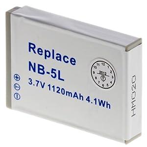 batterie rechargeable Li-Ion, 1120 mAh pour Canon NB-5L - IXUS 800 IS, 850 IS, 90 IS