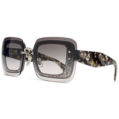 MIU MIU Occhiali da sole reverse lente quadrata in Glitter grigio trasparente & Havana MU 01RS DHE0A7 67 67 Gradient Grey