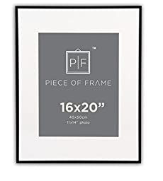 Golden State Art, 16x20 Aluminum Black Photo Frame, with Ivory Color Mat for 11x14 Pictures, & Real Glass