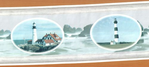 Lighthouse Dreams - Vintage Pre-pasted Wallpaper Border