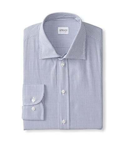 Armani Collezioni Men's Modern Fit Small Check Dress Shirt