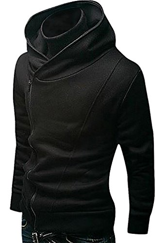 LAZERE Men Casual Side Zip Slim Fit Warm Hoodie Training Sweatshirt, Black Large (Mens Hoodie Side Zip compare prices)