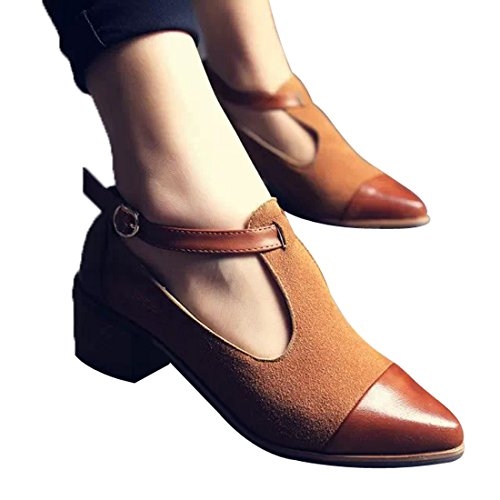Susanny Women's Vintage Cute T-strap Low Heel Pointed Toe Oxfords Pump Shoes with Buckle 0