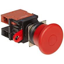 Omron A22E-M-02 Emergency Stop Operation Unit and Switch, Screw Terminal, IP65 Oil-Resistant, Non-Lighted, Push-Lock Turn-Reset Operation, Red, 40mm Diameter, Double Pole Single Throw Normally Closed Contacts