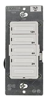 2-4-8-12 Hour Countdown Timer Switch, Preset, Decora 1800W Incandescent/20A Resistive-Inductive 1HP, White/Ivory/Light Almond, LTB12-1LZ