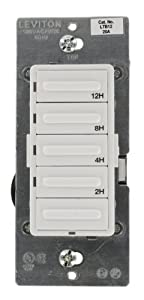 Leviton LTB12-1LZ Decora 1800W Incandescent/20A Resistive-Inductive 1HP Preset 2-4-8-12 Hour Countdown Timer Switch, White/Ivory/Light Almond faceplates included