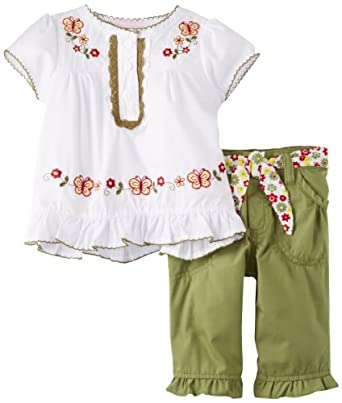 Young Hearts Baby-Girls Infant 2 Piece Butterfly Capri Set, White, 24 Months
