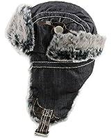 City Hunter W430 Promium Denim Trapper Hat (Black)