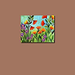 999Store wooden framed flowers printed poster like painting (35x35 cm)