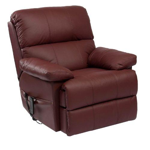 Riser Recliner Armchair - Leather - Handset - Deep Padding - Burgundy