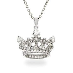 Elegant Sterling Silver CZ Crown Pendant