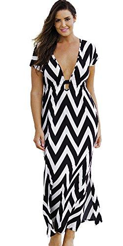 swimsuitsforall Women's Plus Size Chevron Plunge Maxi Dress 18 / 20 Multi