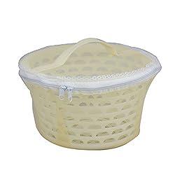 Bagathon India Net Cover Plastic Fruit Basket, 5 Litres [BEIGE]
