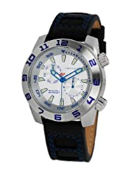 Android Octoploid AD675BBU 48MM Multifunction Swiss Quartz Analog Silver Dial Men's Black Leather Watch
